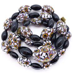 Vintage Deco Black & White Matched Millefiori Glass Bead Necklace | Clarice Jewellery | Vintage Jewellery | Vintage Costume Jewellery