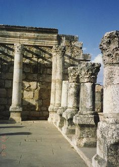 The ruins of the ancient synagogue in Capernaum, on the Sea of Galilee, Israel
