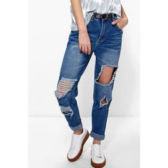 Boohoo Blue Sophie High Waist Distressed Mom Jeans ($44) ❤ liked on Polyvore featuring jeans, mid blue, white distressed jeans, white skinny jeans, boyfriend jeans, white high waisted jeans and white ripped jeans