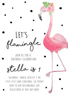 Flamingo Birthday Invitation Tropical by KirraReynaDesigns on Etsy