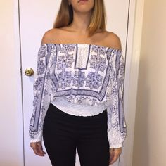 SALE - Cute Top Versatile top. Can be off the shoulders or worn plain. Cute pattern. White/Blue. Current flash sale price is my lowest. Have questions? Feel free to ask. Tops