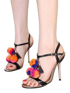 Plush ball tassel slim high heel sandals