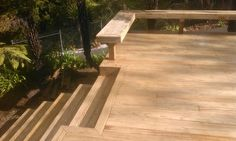 Decking steps, top step here is integrated into the deck to reduce the distance out from the deck they will end up. - Premium pine decking x House Renovations, Decking, Fence, Distance, Photo Galleries, Bathrooms, Projects To Try, Construction, Gallery