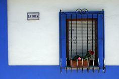Yoga Vacations in Spain.  Beautiful tone of the Mediterranean blue paint.  www.yogabreaks.org.uk