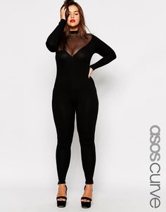 Plus Size ASOS CURVE BodyCon Jumpsuit with Mesh