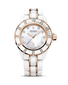 Bulova Accutron Mirador Collection Ladies' Stainless Steel and Ceramic Watch With White Mother-of-Pearl and Diamond Dial, 35mm | Bloomingdale's