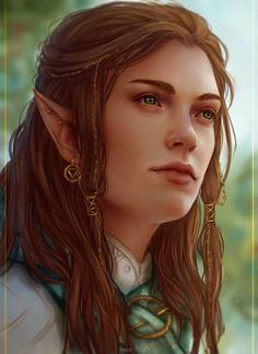 f High Elf Bard Robes Pin Circlet portrait female Deciduous Forest Community hills  lg