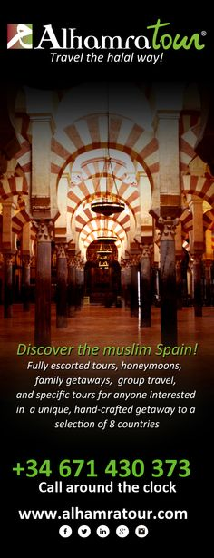 Discover the muslim Spain with Alhamratour!  Fully escorted tours, honeymoons,   family getaways,  group travel,  and specific tours for anyone interested  in  a unique, hand-crafted getaway to a  selection of 8 countries