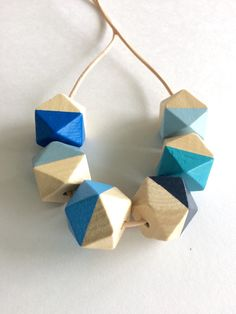 Hand painted geometric wooden bead necklace/ statement by MODFRESH