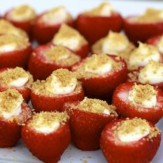 Cheesecake Stuffed Strawberries    Ingredients:  -1 lb large strawberries  -8 oz. cream cheese, softened (can use 1/3 less fat)  -3-4 tbsp powdered sugar (4 tbsp for a sweeter filling)  -1 tsp vanilla extract  -graham cracker crumbs    Directions:  1. Rinse strawberries and cut around the top of the strawberry. Remove the top and clean out inside.   Beat cream chess, sugar, vanilla till creamy. Add mix to piping bag, fill strawberries. Dip the top in graham cracker crumbs and refrigerate.