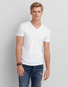 AEO Legend V-Neck T-Shirt - Cool White