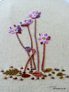 Flowers 🌺 and fallen leaves 🍃 Herb Embroidery, Hand Embroidery Projects, Embroidery Sampler, Hand Embroidery Stitches, Silk Ribbon Embroidery, Floral Embroidery, Embroidery Patterns, Embroidered Flowers, Sewing Crafts