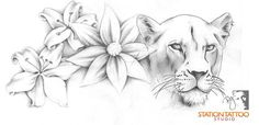 floral lioness by CaPtIne on DeviantArt Chest Piece Tattoos, Chest Tattoo, Body Art Tattoos, Tattoo Drawings, Sleeve Tattoos, Tatoos, Flower Tattoo Designs, Flower Tattoos, Lion Tattoo With Crown