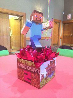 Centro de mesa para fiesta Minecraft. #FiestaMinecraft