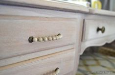 She used wire and beads for a homemade drawer pull. sarah m. dorsey designs: Writing Desk and Chair Complete! Homemade Drawers, Diy Drawers, Desk With Drawers, Diy Furniture Redo, Furniture Projects, Painted Furniture, Dresser Drawer Handles, Drawer Pulls, Door Handles