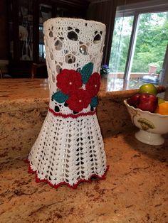 BLENDER Cover hand crocheted white and Red COLOR 12 long 51/2 wide de Artcrochetdiaz en Etsy