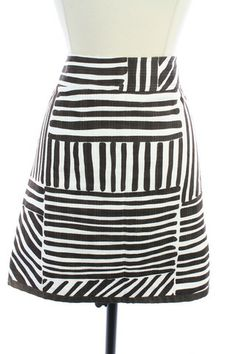 Recycle Your Fashions ANN TAYLOR Brown White COTTON Striped STRAIGHT Pencil SKIRT 6 PETITE 6P