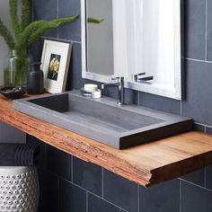 Shop NativeStone Trough Undermount/ Drop-in Rectangular Bathroom Sink - x x - Overstock - 18235326 Drop In Bathroom Sinks, Concrete Bathroom, Master Bathroom, Bathroom Ideas, Bathroom Organization, Sinks For Small Bathrooms, Trough Sink Bathroom, Bathroom Designs, Bathroom Sink Decor