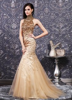 high neck sleeveless mermaid dress with beading