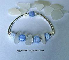 Sea glass bracelet with dragon vein blue by EgyptianInspirations, $28.99