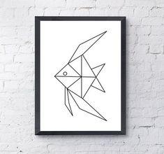 Angel Fish geometrische Origami afdrukken Poster / / zwart-wit | Etsy
