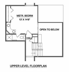 Contemporary Style House Plan - 2 Beds 2 Baths 1004 Sq/Ft Plan #116-121 Floor Plan - Upper Floor Plan - Houseplans.com