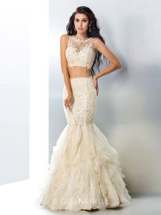 2016 New Styles via QueenaBelle! Sexy Mermaid Two-Piece Prom Dresses~