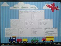 Brincadeira para chá de bebê menino - quiz palpites da gravidez - tema transportes (carrinho, avião, trem, caminhão)