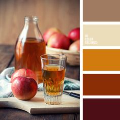 "Beautiful, noble composition, which is associated with a fragrant, warming tea. Warm colors have a special atmosphere of coziness and comfort. Golden, red and brown, and the color of rotten cherries - rich, eloquent shades. They are open and offer to him. Milk and cocoa color perfectly complement the range. These colors are perfect for decoration of ""cold"" non-solar facilities."