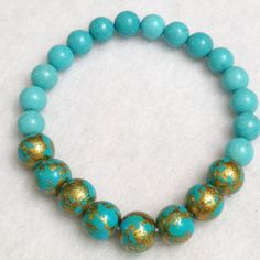 Turquoise and gold crackle ladies stretch bracelet, stackable bracelet, $15