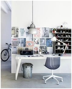 love this office. love the old industrial shelf especially.