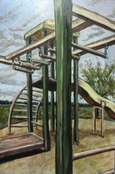 """""""Jungle Gym"""" Original Acrylic Painting on Canvas by Michelle Durell / Durell Studio"""