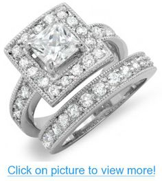 2.75 CT Classic Halo Ladies Princess Cubic Zirconia CZ Wedding Bridal Engagement Ring with Matching Band Set (Available in size 6, 7, 8)