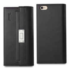 Reiko Iphone 6/6S Plus 5.5Inch Genuine Leather Flip Wallet Case Black With Metal Buckle Belt