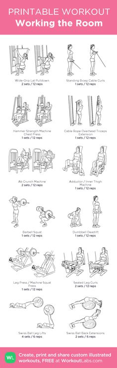 Working the Room –my custom workout created at WorkoutLabs.com • Click through to download as printable PDF! #customworkout