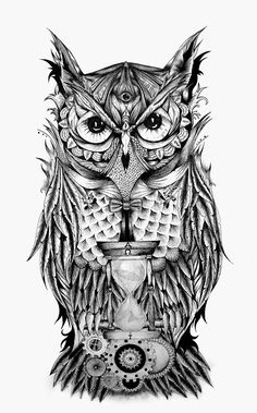 "The Owl's Time"" is a project that begins, as most of my works, from a doodle on paper and it has a particular meaning; indeed the gothic owl has a third eye, which means omniscience and gives to the owl an almost divine trait. In front of the Owl, there Eye Tattoo Meaning, Tattoos With Meaning, Owl Tattoo Design, Tattoo Designs, Tattoo Ideas, Body Art Tattoos, Sleeve Tattoos, Third Eye Tattoos, 3rd Eye Tattoo"