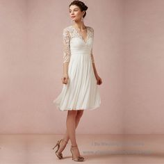 Short Boho Wedding Dresses Lace Garden Chiffon Bohemian Bridal Dress Knee Length A Line With Sleeves V Neck Online W2071-in Wedding Dresses from Weddings & Events on Aliexpress.com   Alibaba Group
