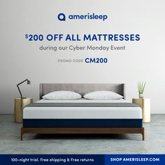 Missed our Black Friday promotion? Don't worry, Cyber Monday is here! Enjoy $200 off any mattress, plus free shipping & free returns. Try Amerisleep risk-free for 100 nights. Use code: CM200