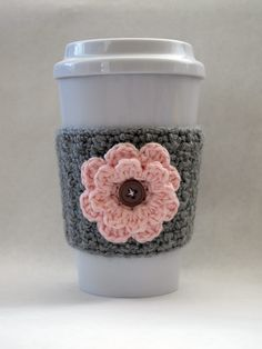 Crochet pink and gray coffee cozy