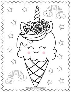 These printable unicorn coloring pages are perfect for anyone who loves these sweet magical creatures! And best of all they& free to print at home! Just use your favorite art supplies to bring these sweet unicorn coloring sheets to life! Ice Cream Coloring Pages, Spring Coloring Pages, Coloring Sheets For Kids, Cute Coloring Pages, Printable Adult Coloring Pages, Coloring Pages To Print, Coloring Books, Unicorn Printables, Free Printables