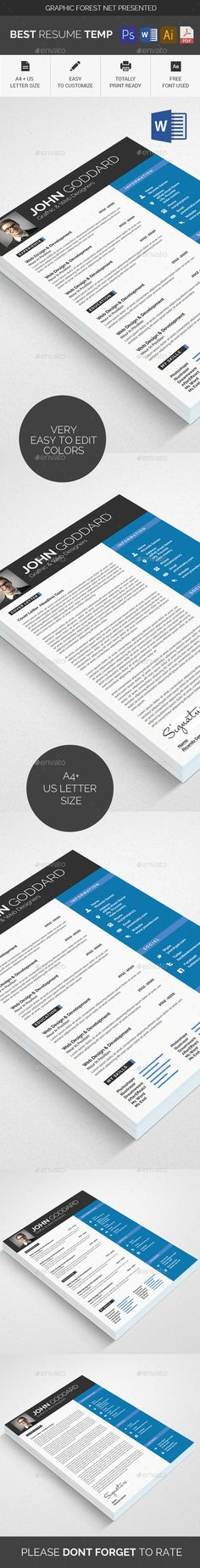 Resume Word Resume words, Template and Fonts