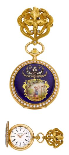 Longines Gold & Enamel Pendant Watch With Pin, circa 1905. Case: 18k gold with polychrome enamel scene of a young girl and lamb, pearl edges, diamond accents on the front, back with golden bird motif on blue guilloche ground, 33 mm, gold cuvette, 14k gold Art Nouveau pin with diamonds. Dial: white enamel, Roman numerals, gold Louis XV hands.
