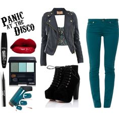 outfit and makeup for a Panic At The Disco Concert – Outfit Inspiration & Ideas for All Occasions Band Outfits, Rock Outfits, Girly Outfits, Cute Outfits, Disco Outfits, Punk Fashion, Fashion Outfits, Fasion, Concert Wear