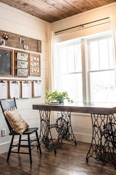 Farmhouse style home office with sewing machine treadle desk and custom command center