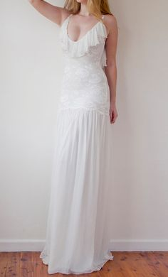 Wedding dress fitted lace silk chiffon low back by Graceloveslace, $990.00