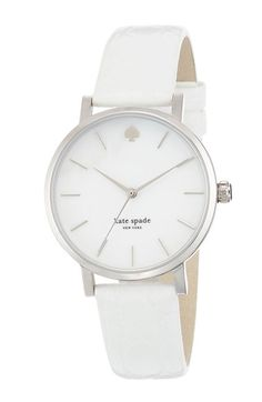 Free shipping and returns on kate spade new york 'metro' embossed leather strap watch, 34mm at Nordstrom.com. Slim stick indexes round an opalescent mother-of-pearl dial to display three-hand time on a classic round watch. The croc-embossed leather strap makes an elegant finish.