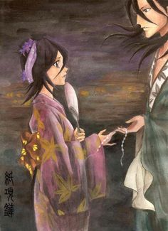 helped me with those pink blades Coloured Byakuya Kuchiki. Rukia Bleach, Bleach Anime, Picture Link, Tumblr, Deviantart, Painting, Color, Create, Painting Art