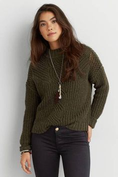 AEO Mock Neck Crop Sweater by AEO | Fall in love with a new layer, with a mock neck