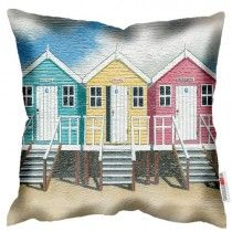 Blue Yellow Pink Beach Huts - Martin Wiscombe - Art Print Cushion Machine washable, Free UK delivery, handmade in UK. £34.99