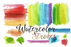 Watercolor Washes Strokes by One8edegree Studios on @creativemarket